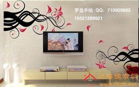 手绘电视背景墙画