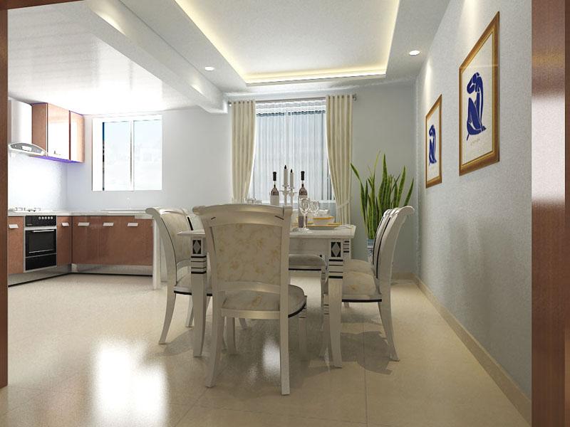 现代风格客厅设计  别墅餐厅效果图=申京装潢高清图片