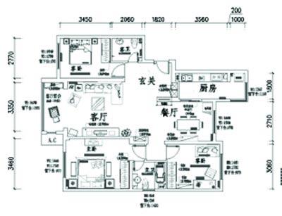 户型:三室两厅  面积:100平方米左右 要求:整体的设计要求稳重大气图片