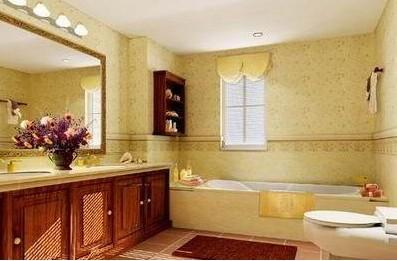 欧式风格装修的居室,通常要在卫生间里铺贴防水