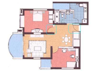 圆形卧室手绘平面图