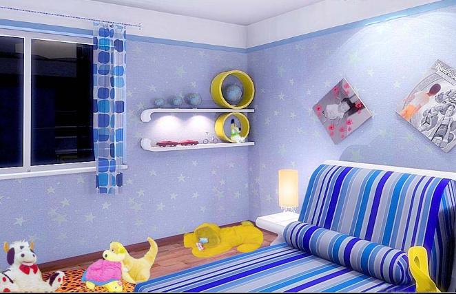 浅蓝色欧式卧室印花家具