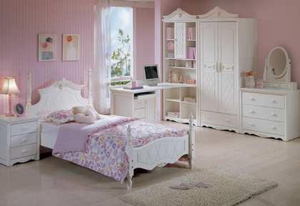欧式风格粉色系列小女孩儿童房
