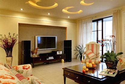 电视机的背景墙在很多家庭的客厅里都有着很强的