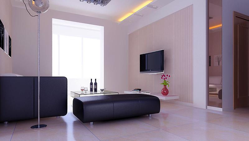 电视背景墙采用了直线的石膏板做简易的直线造型