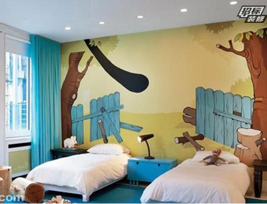 天蓝色的房间酷似天空的色彩,整体色调清新,淡雅。天蓝色的背景墙面搭配米色软木地板,完全符合清新自然的特质。两处大大的玻璃窗透视着外景绿色美丽,到处都可以闻到春夏季自然的味道。为了让孩子更多的感受到大自然气息,在屋顶设计上描绘出朵朵白云,跟天蓝色的空间相称,自然别出心裁,简单却美好的手绘设计。  男孩子总是爱充满冒险精神,喜欢海盗,奥特曼,可能还喜欢恐龙岛等。那么,在设计让就满足男孩子们无穷的梦幻和想象力吧!这款手绘墙是不是很逼真呢?色彩的搭配凸显出逼真的恐龙,几乎到了以假乱真的效果。  一看就知道家里有