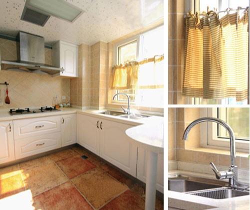 清新/复古的地砖,白色的橱柜,这里色彩的作用至关重要。