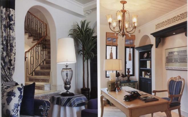 本案以格拉斯的生活意境、生活方式、色彩的对比营造一个浪漫、现代、年轻的居住空间。室内在自然光和灯光的照射下,使空间富有生机活力,使人恍如位于地中海附近的岛屿,让人体验到度假的生活情趣。   无论是客厅、餐厅、走廊还是卧室,都能看到优美的拱门。白色纱幔和蓝白印花布幕垂下,跟客厅的墙面与壁炉遥先呼应。透过弧形拱门,让人仿佛穿梭于一片梦境之中,再加上温馨的原木地板和白色条纹顶棚,立刻让人感受到海边小镇般的恬静。  蓝白条纹、古典碎花、花朵陶瓷锦砖以及各种蓝与白组成的花纹图案,以不同的搭配方式出现在这4层空间的各