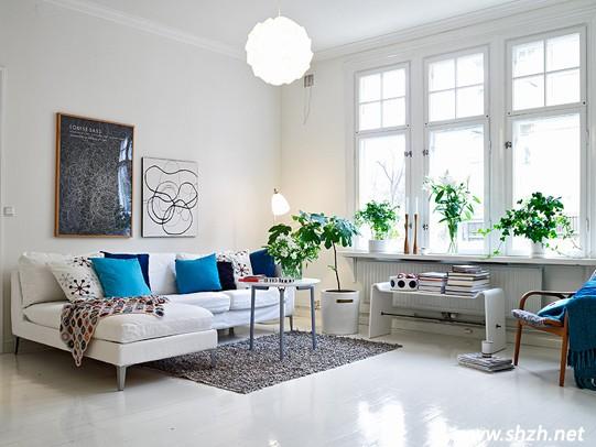 l型客厅沙发 编辑点评:放眼客厅,白色的主色调在强调北欧风的简约清爽图片