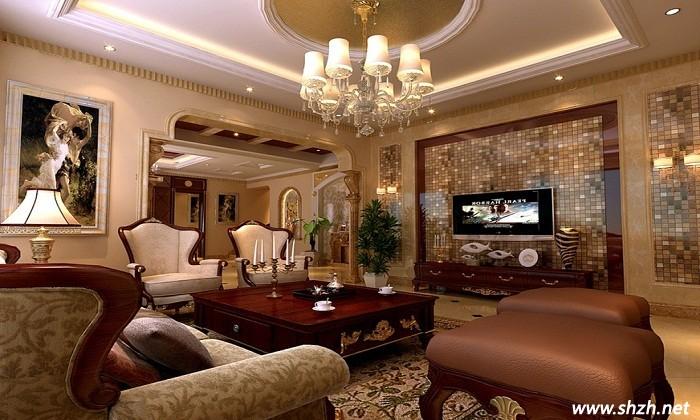 简欧酒柜装修效果图; 别墅客厅设计图