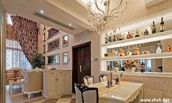 别墅会客厅与餐厅酒柜装修设计新潮