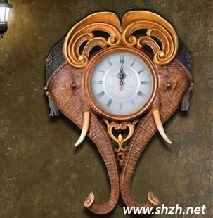 新款新年特推树脂摆设大象挂钟招财装饰品家居墙壁挂饰