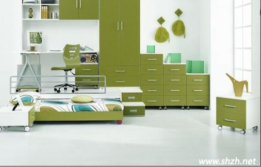 儿童房设计 墨绿色搭配