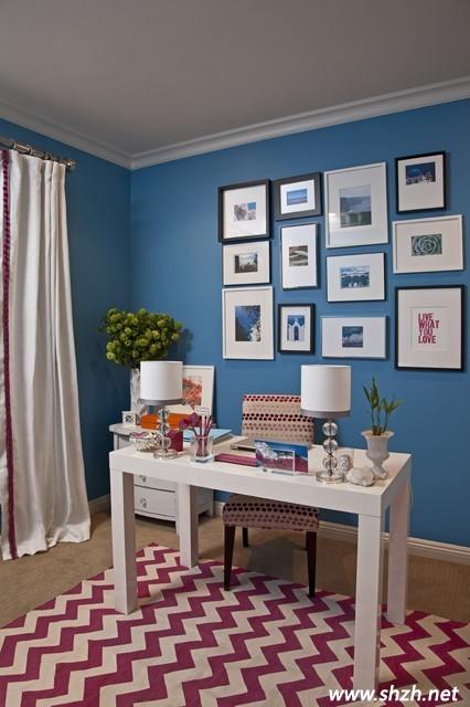蓝色墙壁卧室搭配亮色地面