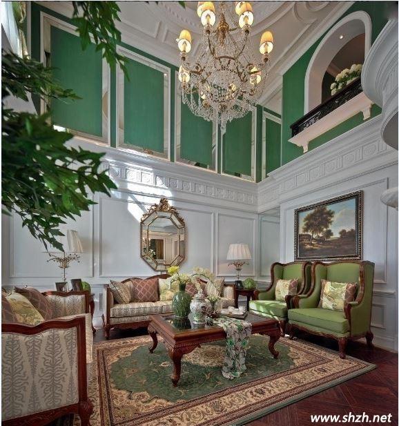 美式轻古典别墅装修 客厅与卧室彰显浪漫情怀
