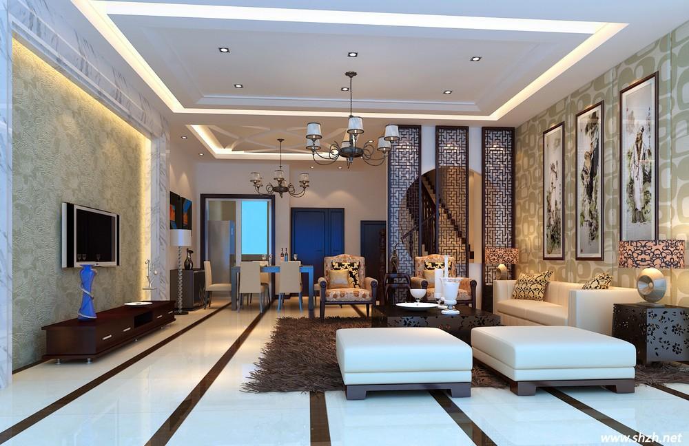 客厅与餐厅的屏风隔断也是中式风的代表