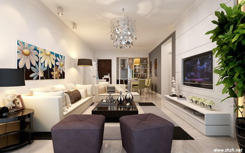 时尚新中式客厅装修 同盏吊灯演绎出不同风情