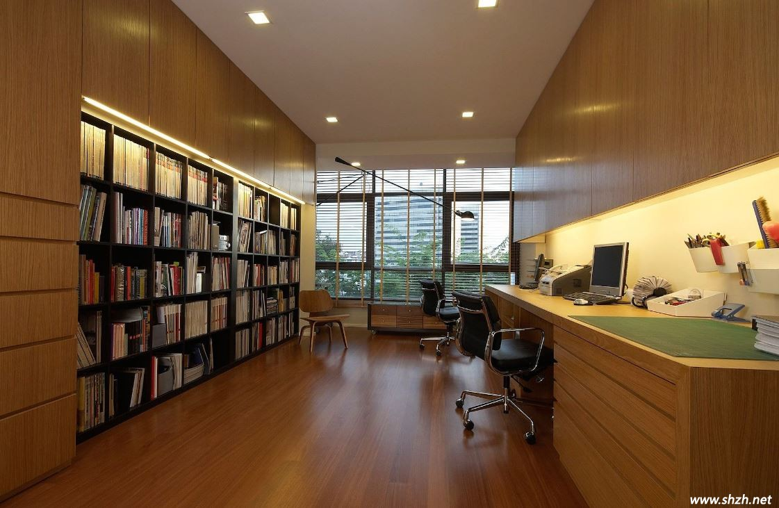 继续原木色,继续简约中式风,大气凌然的书房让小编一下子爱上了这里图片