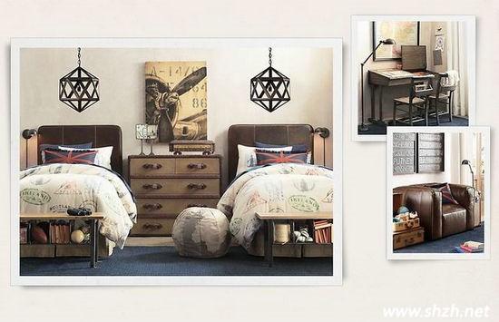 双胞胎儿童房装修方案 复古男孩房与欧式女孩房赏