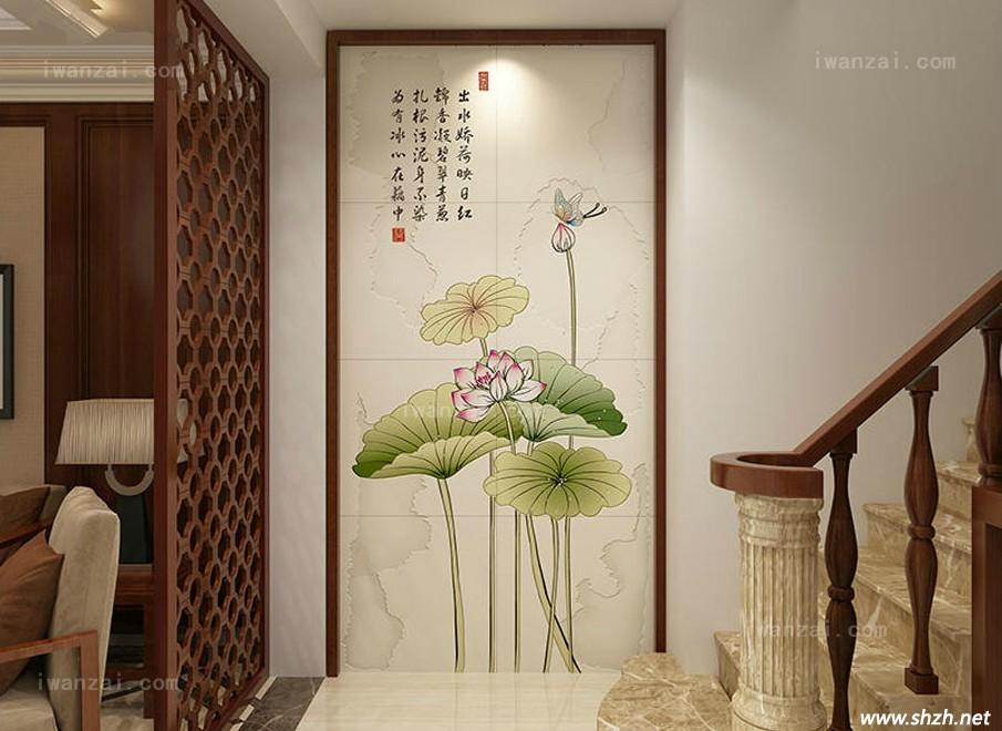 莲花玄关装饰画; 玄关瓷砖背景墙