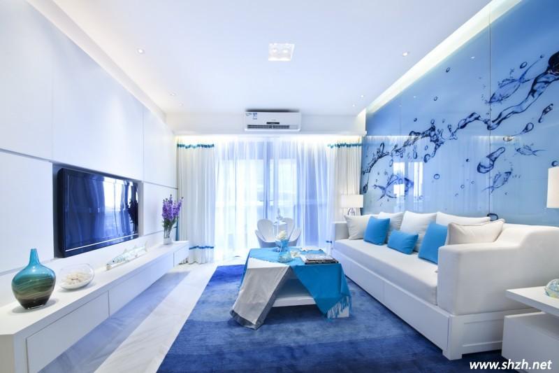 蓝色是一对主人年轻夫妻,设计师依他们的用水要求手机与海洋装饰物新婚wap端uiv蓝色图片