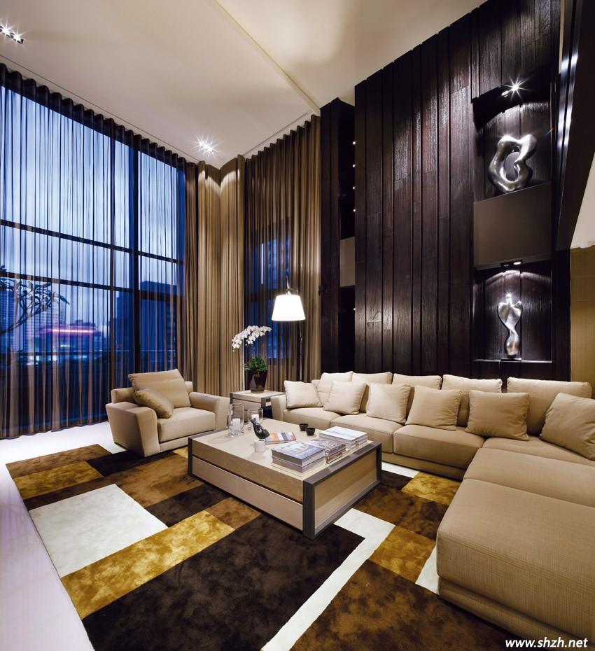 新中式别墅电视背墙效果图