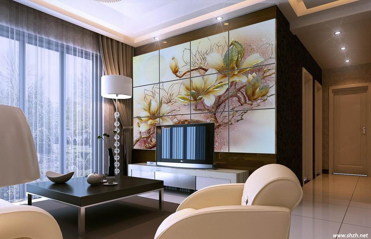 新颖的艺术玻璃电视背景墙