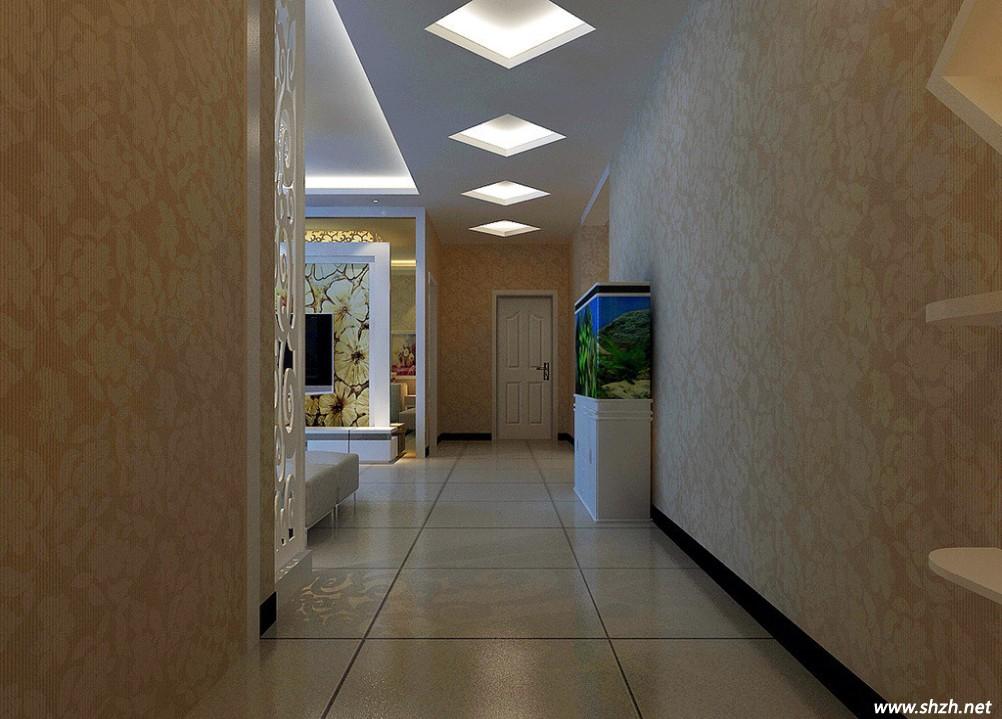 走廊作为通向不通房间的必经之路,其装修对于整体家居装修有很大影响,尤其是走廊的吊顶,独特的走廊吊顶能让家居达到眼前一亮的效果,但是大多数家庭贪图省事都会忽略走廊吊顶的装修,随意处理一下就行了,本次上海装潢网为大家带来几个既简单容易又漂亮美观的几何造型走廊吊顶创意。  狭长的走廊可塑空间非常有限,与其煞费苦心的在墙面与地面上做文章还不如在顶面上动脑筋,长方形的白色吊顶会让空间看上起非常压抑,如图中这般做几个不规则的菱形框框,加上灯光的渲染,即使墙面与地面没有任何的装饰,走廊也绝不会显得单调。  玄关处的走廊
