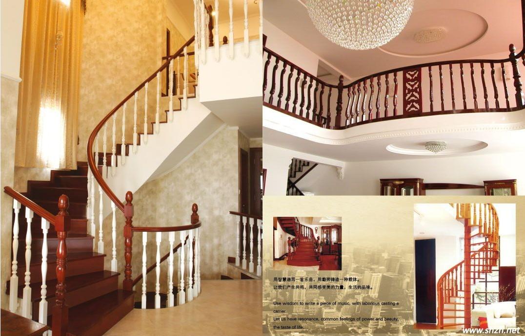 实木楼梯,欧式风格的别墅中来一座实木的欧风楼梯