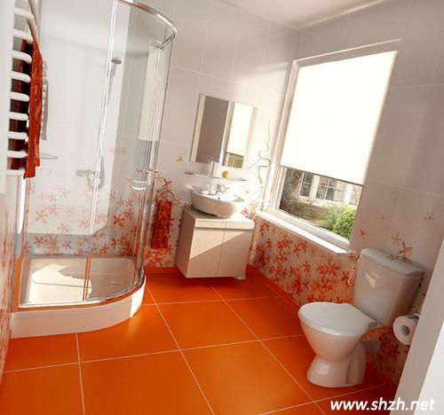 橙白卫生间装修效果