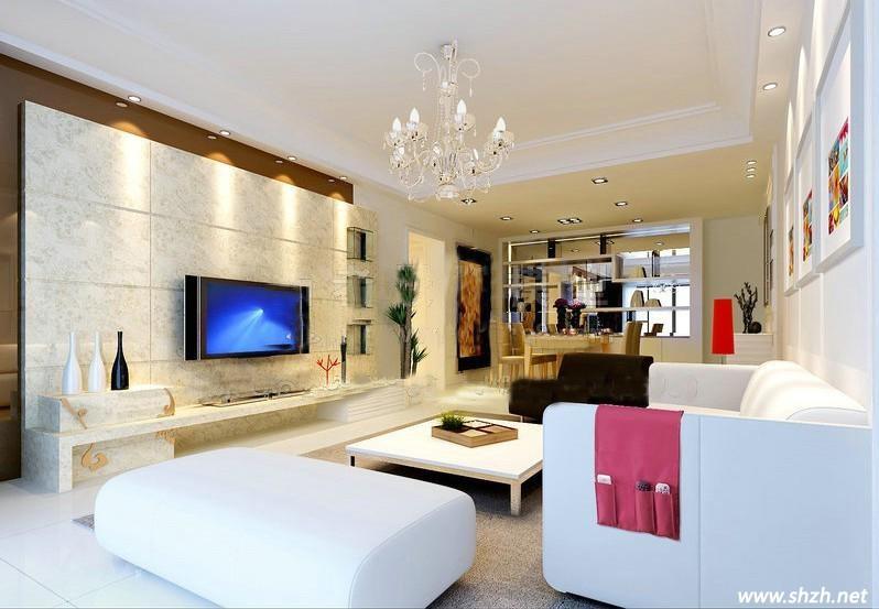 凹凸不平的大理石电视墙壁让客厅多了