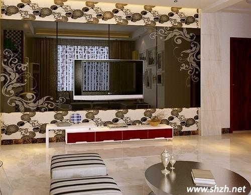 花纹玻璃电视背景墙