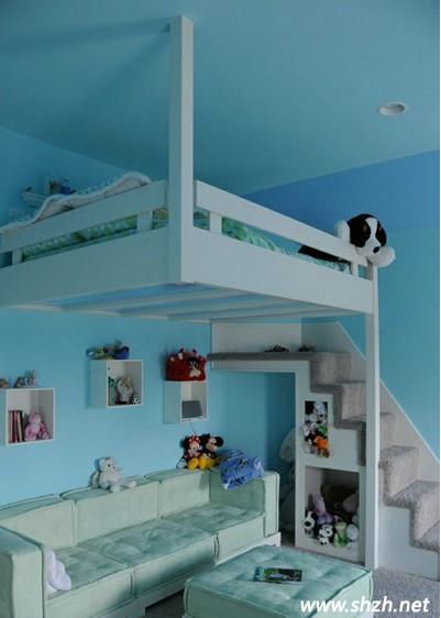 儿童悬空床  儿童床设计 儿童房设计