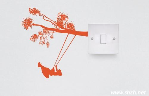 手绘创意开关墙 自己动手画出居家小情调