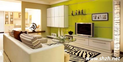 嫩绿色居家 嫩绿色背景墙 嫩绿色沙发